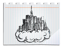 Hand drawn skyscrapers Royalty Free Stock Photos