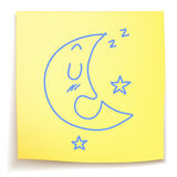 Hand drawn Sleeping moon. On sticky note Royalty Free Stock Photos
