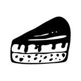 Hand drawn slice of cake. Doodle style slice of pie illustration in vector. Hand drawn vector piece of cake. Sandwich cartoon isolated on white Royalty Free Stock Photos