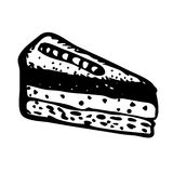 Hand drawn slice of cake. Doodle style slice of pie illustration in vector. Hand drawn vector piece of cake. Sandwich cartoon  on white Stock Photography