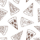 Hand drawn slices of pizza outline seamless pattern Stock Image