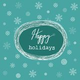 Hand Drawn Sloppy Doodle Sketchy White Christmas Wreath Frame Happy Holidays Wishes Lettering. Cartoon Style. Turquoise Background Royalty Free Stock Photo