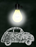 Hand Drawn Small Concept Car Under The Light Royalty Free Stock Photos