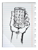 Hand drawn smartphone Stock Image