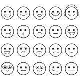 Hand Drawn Smiley Faces Emoji Icons. Outline Hand Drawn Smiley Faces with Basic Emotional Expressions Vector vector illustration
