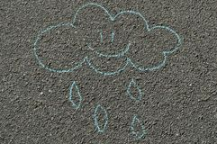 Hand drawn smiling cloud. Hand drawn smiling chalk cloud on a road royalty free illustration