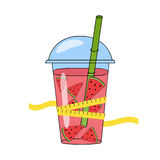 Hand-drawn smoothies and skales. The concept of weight loss Royalty Free Stock Images