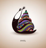 Hand drawn snail, color. Snail with fantastic patterns on the shell, bright colors, illustration stock illustration