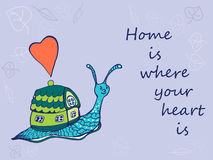 Hand drawn snail with its house. Home is where your heart is. Vector illustration Stock Photography
