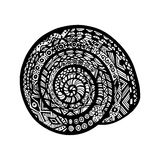 Hand drawn snail shell on white background. Vector snail. In doodle and zentangle style Stock Image
