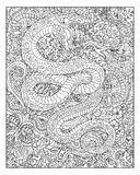 Hand drawn snake against floral pattern background Royalty Free Stock Photography