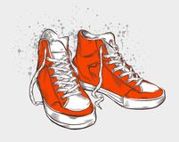 Hand drawn sneakers Royalty Free Stock Images