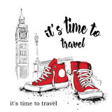 Hand drawn sneakers on background. Run Concept. London, Big Ben. Vector illustration Royalty Free Stock Photography