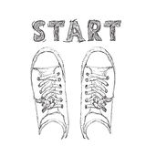 Hand drawn sneakers Royalty Free Stock Photography