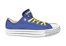 Hand drawn sneakers, gym shoes. Keds Stock Image