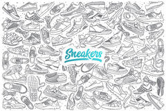 Hand drawn sneakers set with lettering Stock Photo