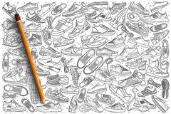 Hand drawn sneakers set background Stock Photography