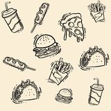 Hand-drawn snel voedsel vastgestelde illustratie Schets vectorillustratie vector illustratie