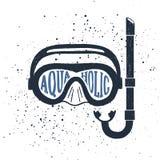 Hand drawn snorkeling mask textured vector illustration. Stock Image