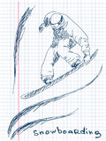 Hand drawn snowboarding Royalty Free Stock Photos