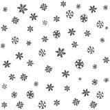 Hand drawn snowflakes Christmas ornaments made from decorative snowflakes vector sketch illustration Christmas background with gre Royalty Free Stock Image