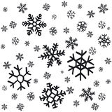 Hand drawn snowflakes Christmas ornaments made from decorative snowflakes vector sketch illustration Christmas background with gre Royalty Free Stock Photos