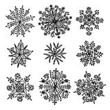 Hand drawn snowflakes. Stock Image