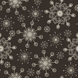 Hand drawn snowflakes pattern Royalty Free Stock Photo