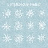 Hand drawn snowflakes Royalty Free Stock Images