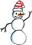 Hand Drawn Snowman. Hand drawn and painted snowman with Santa hat stock illustration