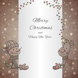 Hand drawn Snowman and Deer holding banner Stock Image