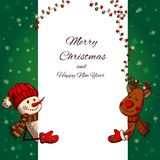 Hand drawn Snowman and Deer holding banner Stock Images
