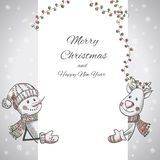 Hand drawn Snowman and Deer holding banner Stock Photo