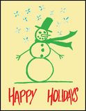 Hand-drawn Snowman Greeting Stock Photography