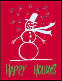 Hand-drawn Snowman Greeting Royalty Free Stock Images