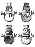 Hand drawn snowman with hat and scarf Royalty Free Stock Photography