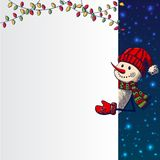 Hand drawn Snowman holding banner Royalty Free Stock Images