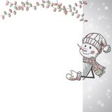 Hand drawn Snowman holding banner Royalty Free Stock Photography
