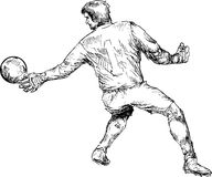 Hand drawn soccer ball player Royalty Free Stock Photos