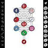 Hand Drawn Social Media distribution structure on tree. Vector illustration vector illustration