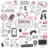 Hand drawn social media doodle set royalty free illustration