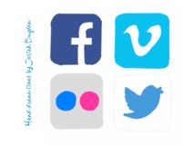 Hand Drawn Social Media Icons. Facebook, Vimeo, Flickr and Twitter social media buttons / icons hand drawn on color