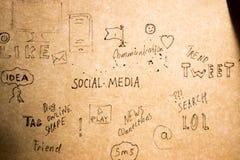 Hand drawn social media Royalty Free Stock Photo