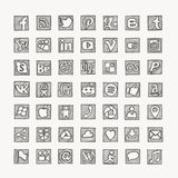 Hand drawn social media network icons. Stock Photo