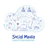 Hand drawn social media networking doodle sketch vector concept background. Cloud social media, illustration of doodle sketch cloud bubble with media icons Royalty Free Stock Photos