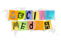 Hand drawn social media words on sticky note Royalty Free Stock Photography