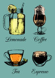 Hand drawn soft drinks, lemonade, coffee, tea. Vector sketch illustrations set for restaurant, cafe, bar menu. Hand drawn soft drinks, lemonade, coffee, tea Stock Photo