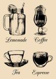 Hand drawn soft drinks, lemonade, coffee, tea. Vector sketch illustrations set for restaurant, cafe, bar menu. Hand drawn soft drinks, lemonade, coffee, tea Royalty Free Stock Image
