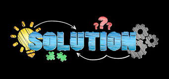 Hand-drawn solution text. On black background Royalty Free Stock Photos