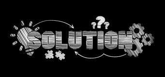 Hand-drawn solution text. On black background Royalty Free Stock Photography